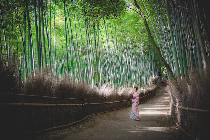 Vacation photo of a woman surrounded by bamboo grove in Arashiyama, Kyoto