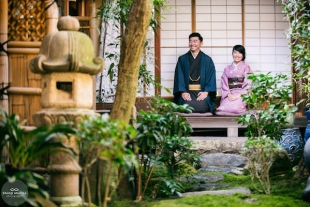 A couple wearing kimono in Machiya, traditional Japanese old house in Kyoto for their pre-wedding photo