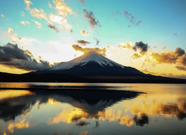Mt. fuji during sun rise on a peaceful