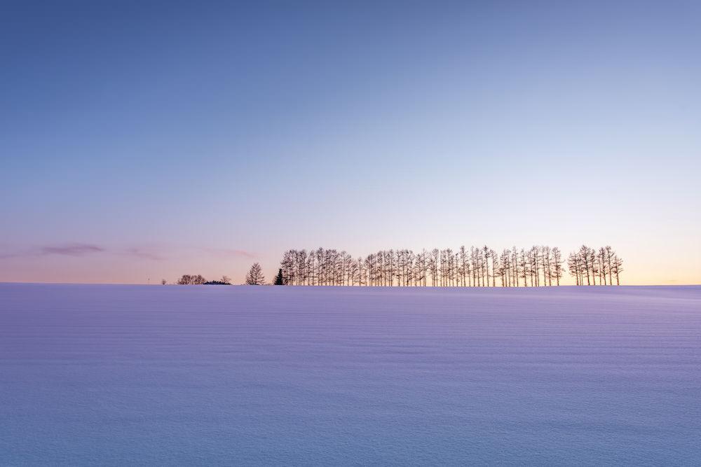 Beautiful calm snow scenery in Hokkaido in winter