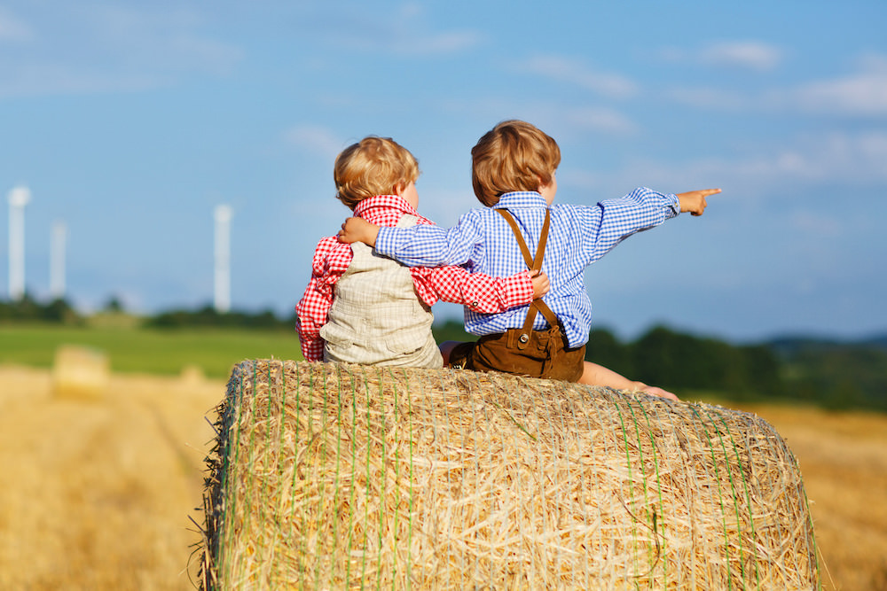 Brothers sitting on a hay block for vacation photo