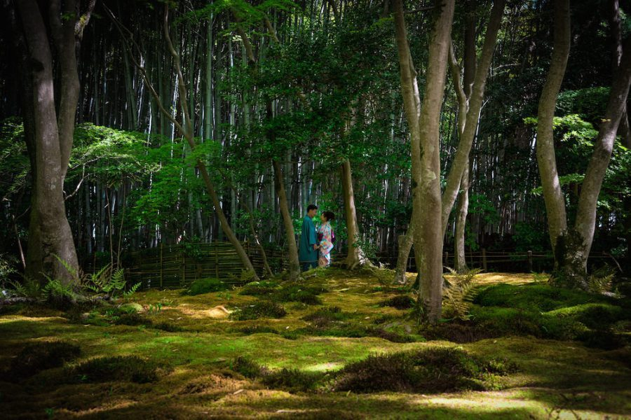 A couple looking at each other in moss garden near Arashiyama