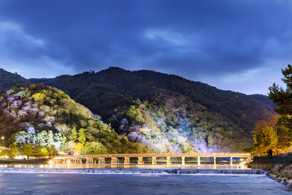 Light up of Togetsukyo bridge in Arashiyama, Kyoto