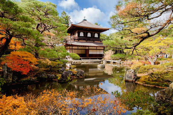 Ginakuji temple in Autumn with colorful maple leaves