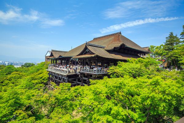 Summer time with fresh green surrounding Kiyomizedera temple in Kyoto