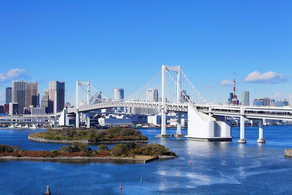 View of rainbow bridge from Odaiba bay area