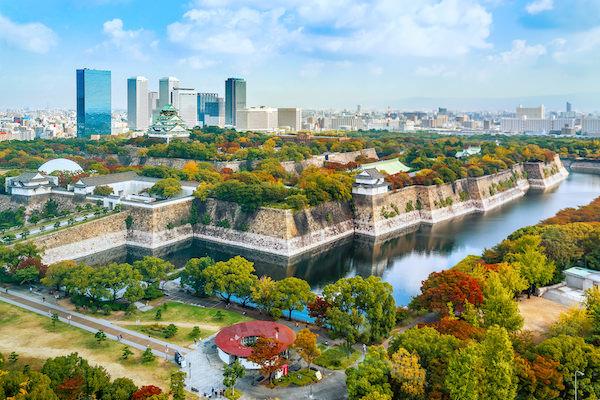 View of Osaka with Osaka castle