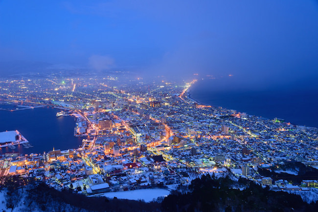 View from Hakodateyama Mountain during winter
