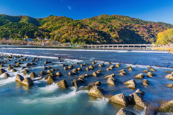 Autumn view of Togetsukyo bridge in Arashiyama, Kyoto