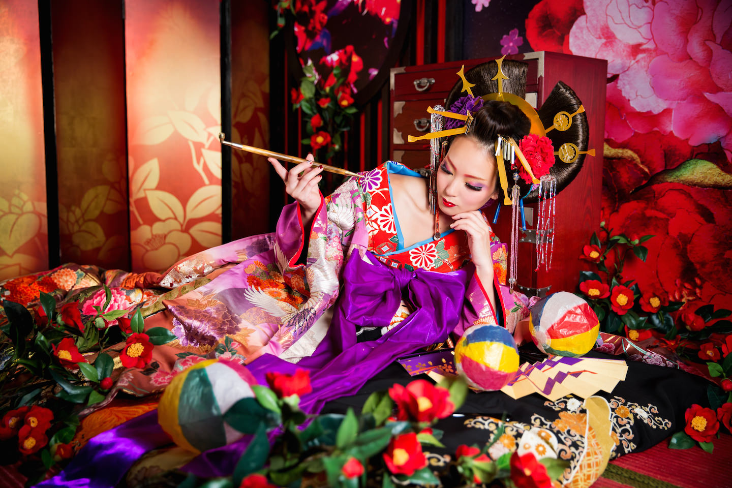 A woman dressed up as oiran for make-over photo