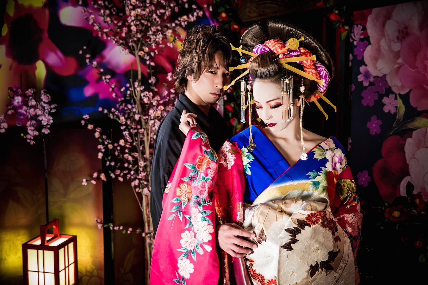 This is a picture of Samurai and Oiran dressed up in Kimono for make-over photo shoot in Kyoto Japan.