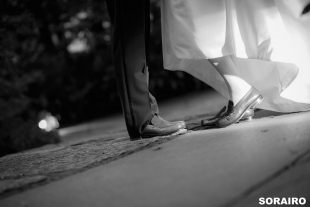 A couple's matching shoes for pre-wedding photo