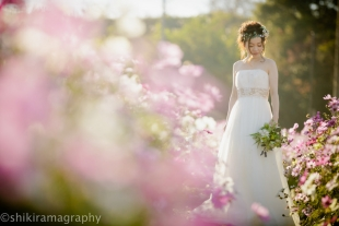 A woman dressed in a beautiful white wedding dress surrounded by cosmos for pre-wedding photo
