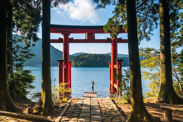 Hakone shrine facing Ashinoko Lake