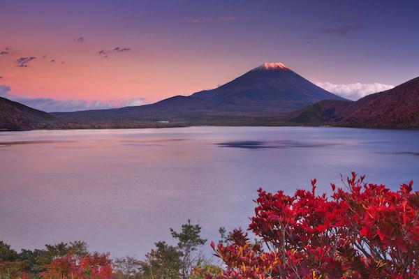 Ashinoko Lake in Hakone, Japan with Mt. Fuji in the background during sunset