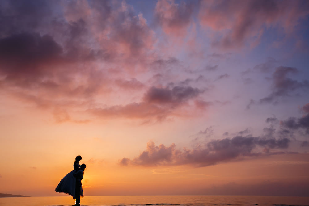 Pre-wedding photo of a couple during beautiful sunset