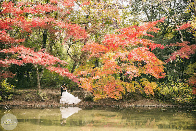 A couple dressed up for their pre-wedding photo in a beautiful Kyoto botanical garden in Autumn