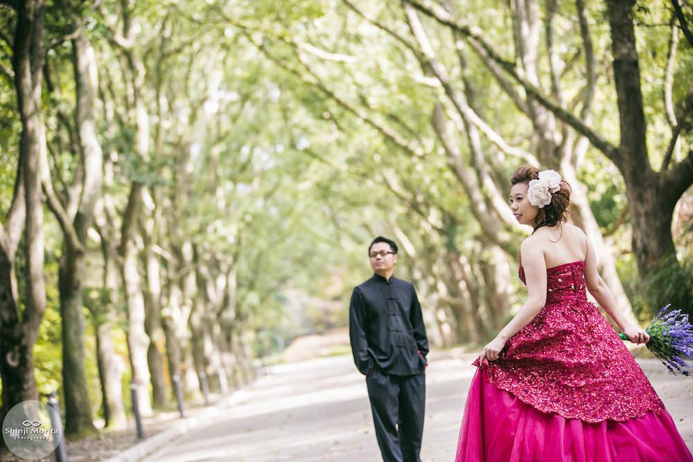 A couple posing in Kyoto botanical garden for their pre-wedding photo