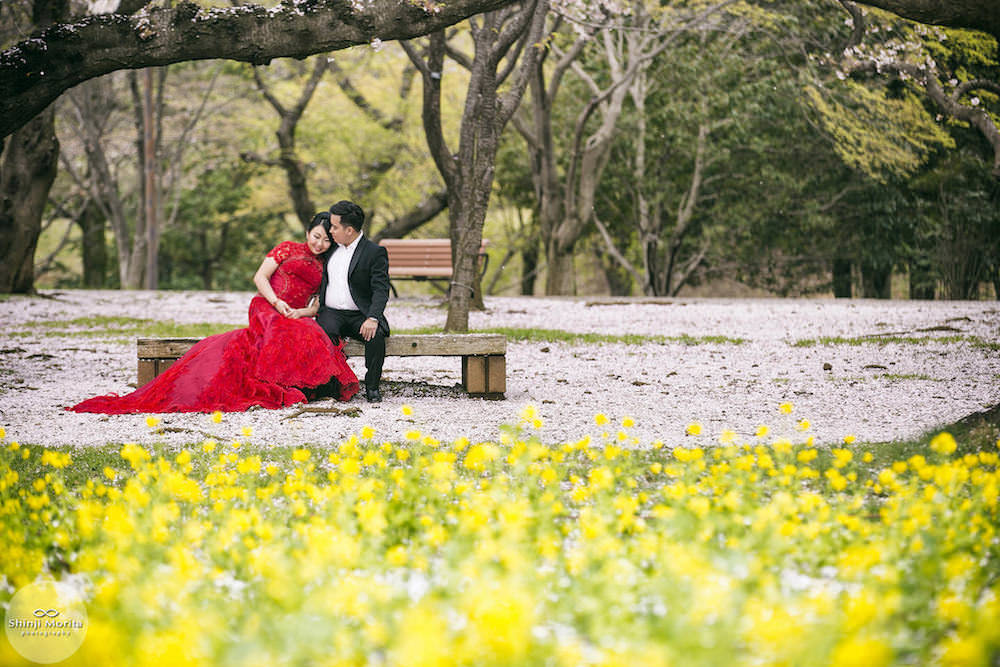 A couple sitting closely in Showa Memorial park for their pre-wedding photo