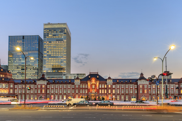Beautiful location at Tokyo station after sunset in Tokyo