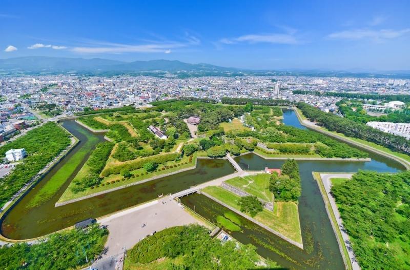 A view of Goryokaku park from the observatory in Goryokaku Tower in Haodate, Hokkaido