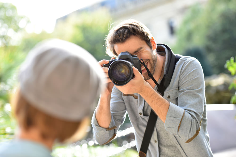 A photographer during a photo session