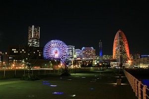 Night view from cup noodle museum in yokohama