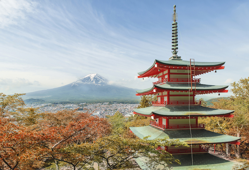 Five story pagoda with Mt. Fuji in the background