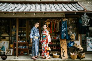 Pre-wedding in Kamakura with couple wearing kimono