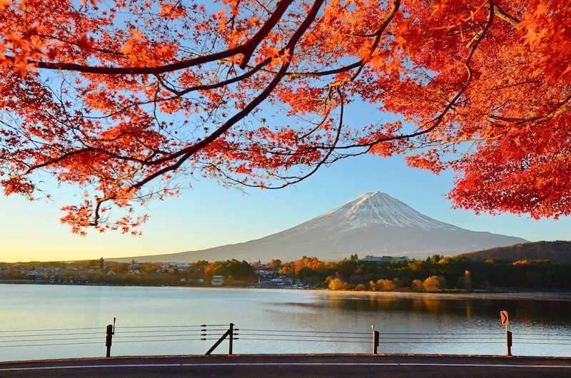 Beautiful scenery of autumn with Mt. Fuji in the background